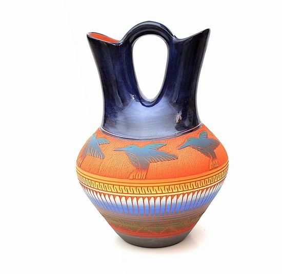 Hummingbird Wedding Vase Genuine Hand Coiled Mata Ortiz Pottery