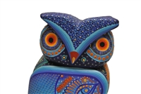 Colorful Blue Owl Genuine Oaxacan Wood Carving