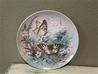 Butterfly Collector Plate Vintage White Peacocks by Lena Liu on W.S. George Fine China - 1989