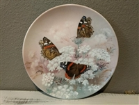Butterfly Collector Plate Vintage Red Admirals by Lena Liu on W.S. George Fine China - 1989