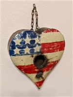Small Metal Birdhouse, Unique Patriotic Style, Outdoor or Indoor, Decorative Birdhouse Decor