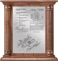 "Patent Plaques Custom Wall Hanging Traditional Column Patent Plaque - 12"" x 12.5"" Silver and Walnut."