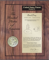 "Patent Plaques Custom Wall Hanging 10.5"" x 13"" Wood Engraved Patent Plaque."