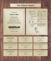 Patent Plaques Custom Wall Hanging 10-Series Patent Plaque - Gold on Walnut.