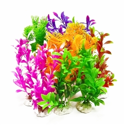 AquaTop Plastic Freshwater Aquarium Plant 12 Pack, Assorted Colors, 7""