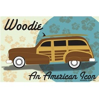 18x12 Aluminum sign that says Woodie An American Icon. This quality and sturdy metal poster sign is brand new, durable and made of heavy gauge aluminum that will last for many years to come. Great for hanging outside as well as inside. A great way to...