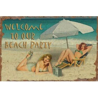 12x18 Aluminum sign that says Welcome To Our Beach Party. This quality and sturdy metal poster sign is brand new, durable and made of heavy gauge aluminum that will last for many years to come. Great for hanging outside as well as inside. A great way...