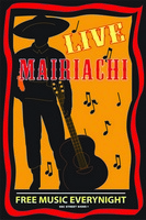 12x18 Aluminum sign that says Live Mairiachi Free Music Everynight. This quality and sturdy metal poster sign is brand new, durable and made of heavy gauge aluminum that will last for many years to come. Great for hanging outside as well as inside. A...