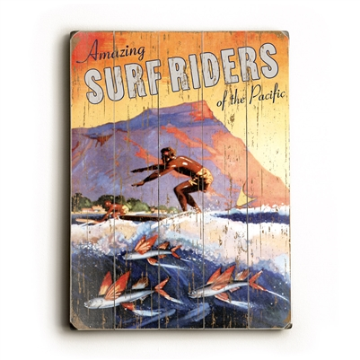 Amazing Surf Riders of the Pacific Vintage Wood Sign