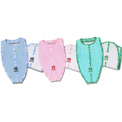 One of our surfboard shaped bibs and one of our surfboard burp cloths make the perfect pair! Your choice: pink for girls, blue for boys or green for all purpose.  The bibs are 100% cotton super-absorbent terry cloth. The burp cloths are surfboard shaped