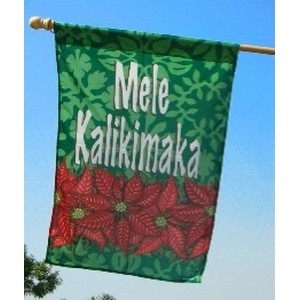 "Mele Kalikimaka (Meh-leh Kah-liki-mah-kah) means ""Merry Christmas"". Christmas is a beautiful time in Hawaii. Bright red pointsettias in towers the shape of trees decorate busy shopping areas and streets in town. On this flag, a band of pointsettias..."