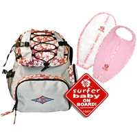 "The ""All Set"" gift set includes:  The Ultimate Diaperbag/Backpack in Grey/Red. A pink Surfboard Bib and Burp Cloth Set A red ""Surfer Baby on Board"" sticker. Getting all set to take care of your little Surfer Baby has..."