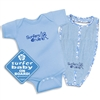 "The "" Surfers Drule "" Surfer Baby Gift Pack in blue comes with a blue Surfers Drule 100% cotton onesie /bodysuit, a matching blue surfboard shaped Surfers Drule 100% cotton terry oversized bib, and the blue Surfer Baby on Board sticker. ..."
