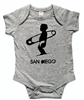 This soft 100% baby rib combed cotton onesie is silkscreened with a cool graphic of a baby in a diaper holding a big diaper pin like a surfboard. Our one pieces feature a lap tee neckline construction for easy on and off, as well as a 3 snap seat...
