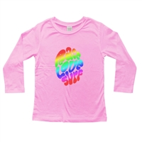This soft 100% combed cotton infant long sleeve shirt is silk screened with the groovy and colorful Peace Love Surf design on the front of the shirt and a horizontal surfer  board logo on the upper back. Color: Pink. Available sizes are 6 mos, 12...