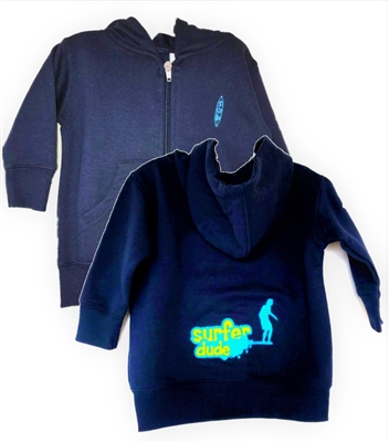 The Surfer Baby brand Surfer Dude zip up hooded sweatshirt is 7.5 oz. 60/40 cotton/polyester fleece with a jersey-lined hood and pouch pockets. It features the Surfer Dude design on the  back and the Surfer Baby surfboard logo on the front...