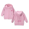 The Surfer Baby brand Surfer Girls Rule zip up hooded sweatshirt is 7.5 oz. 60/40 cotton/polyester fleece with a jersey-lined hood and pouch pockets. It features the Surfer Girls Rule design on the  back and the Surfer Baby hibiscus logo...
