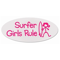 "Cool oval Surfer Girls Rule stick figure stickers. Clear vinyl. They measure 7"" x 3"". Shipping cost included in price...."