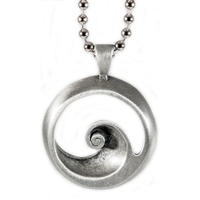 Barrel Sterling Silver Surf Pendant by Strickly Boarding