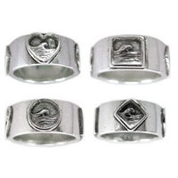 This Plain Band is accecnted with 4 different wave scenes to keep you connected to the ocean.   100% Handcarved .925 Sterling Silver  Made in Carlsbad, California USA The Undisputed Leader in Custom Surf...