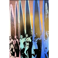 6 Vintage Surfer Girls Line Up Circa 1940's. Classic multi color silkscreen image of five vintage surfer girls laying on their surfboards.  Pink, Mint Green, Royal Blue acrylic paint. Handpulled silkscreen over acrylic paint on Birch wood panel....