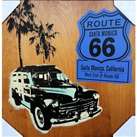 Route 66 & 1948 Woodie Wagon. Handpulled silkscreens, Dark blue Route 66 sign, West End, Santa Monica, California. A green and yellow silkscreen image of a 1948 woodie wagon with two palm trees in the background. Hand pulled silkscreens over acrylic...