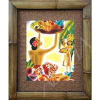 """Fruit Basket"" Matson Menu, Frank McIntosh Circa 1940's. Matted in a Natural Grass Mat and framed in a handmade Natural Bamboo Frame. Bamboo Frame is hand sanded and stained twice. Handmade in the USA. Dimensions; Print 11"" x 14"", Natural Grass Mat..."