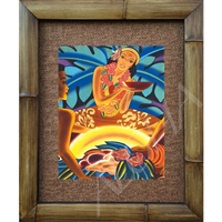 """Luau"" Matson Menu, Frank McIntosh Circa 1940's. Matted in a Natural Grass Mat and framed in a handmade Natural Bamboo Frame. Bamboo Frame is hand sanded and stained twice. Handmade in the USA. Dimensions; Print 11"" x 14"", Natural Grass Mat 16"" x..."