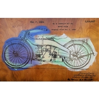 Harley Davidson Patent 1924. Cool hand pulled silkscreen of the original patent filing by W.S. Harley for a motorcyle. Acrylic colors are Yellow, Mint Green and Aqua Blue over wood grain. Handpulled silkscreen on Birch wood panel. Original, signed by...