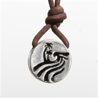 Handmade itemMaterials: pewter, leatherShips worldwide from United StatesSurfer Necklace Made of Pewter. surfing round Pendant design inspired by the big wave in hawaii ocean jewelry by Zulasurfing comes with abercrombi and fiche style Brown...