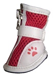 Dog Boots Mesh Leather Red