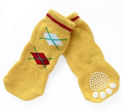 Dog Socks Yellow Argyle