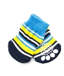 Tiny Dog Socks Blue Colorful Stripes