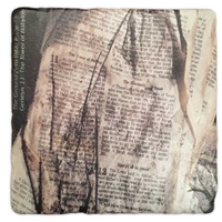 The Ground Zero Bible Page Marble Coaster Set