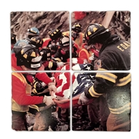 FDNY Honor Guard Italian Marble Coaster Set