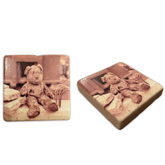The Muddy Teddy Bear Italian Marble Magnet