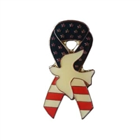 Flag Ribbon and Dove Pin
