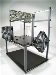The XL-ATX model BTC Mining Station with riser card GPU support.