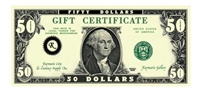 Gift Certificate $50 Gift Card for Use on Any of our Products or Services