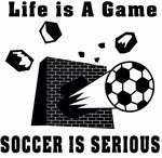 Soccer is serious/ black logo