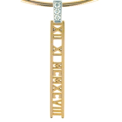 Numeros™ Diamond Ladder Pendant -14K Yellow & White