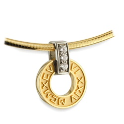 Diamond Numeros™ Wheel Pendant - 14K Yellow & White