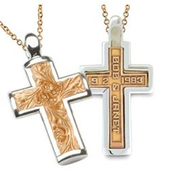 Two-Tone Expres™ Cross - 14K Yellow & White