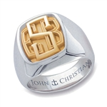 Lady's Bristol Monogram Ring - 14K Yellow & White