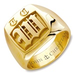 Lady's Highgate Monogram Ring - 14K Yellow or White