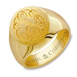 Lady's Mayfair Monogram Ring - 14K Yellow or White