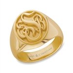 Man's Somerset Monogram Ring - 18K Yellow