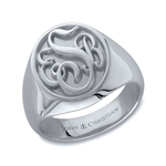 Man's Somerset Monogram Ring - Platinum