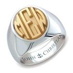 Lady's Sutton Monogram Ring - 14K & PūrLuxium™