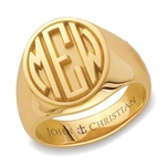 Lady's Sutton Monogram Ring - 14K Yellow or White
